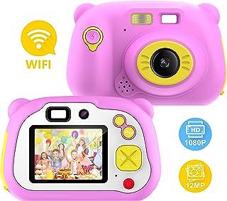 Pancellent Cámara para niños para niñas y niños WiFi Sharing 1080P HD Videocámara Digital con cámaras de Doble Lente con Carcasa de Silicona Suave para Jugar al Aire Libre (Rosa)