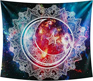 INTHouse Galaxy Mandala Tapestry Wall Hanging Starry Night Tapestry Psychedelic Tapestry Mandala Wall Tapestry Moon Star Tapestry Galaxy Decor for Bedroom CollegeDorm Room
