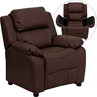 Flash Furniture Deluxe Padded Contemporary Brown Leather Kids Recliner with Storage Arms -, BT-7985-KID-BRN-LEA-GG