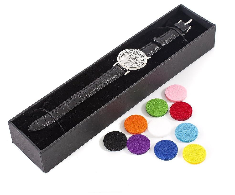 発行するドラフト測定可能Mystic Moments   Tree of Life   Aromatherapy Oil Diffuser Bracelet with Adjustable Black Leather Strap