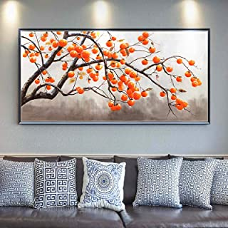 """""""N/A""""Persimmon Hand-Painted Oil Painting European American Living Room Decoration Painting Plant Hanging Painting Mural So..."""
