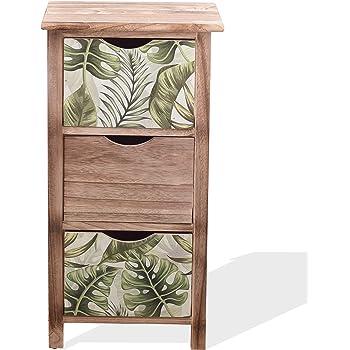 Rebecca Mobili Mueble Cajonera Organizador Madera Marrón Claro Verde Design Natural Habitación Comedor - 65x34x27 (A x AN x FON) - Art. RE6131: Amazon.es: Hogar