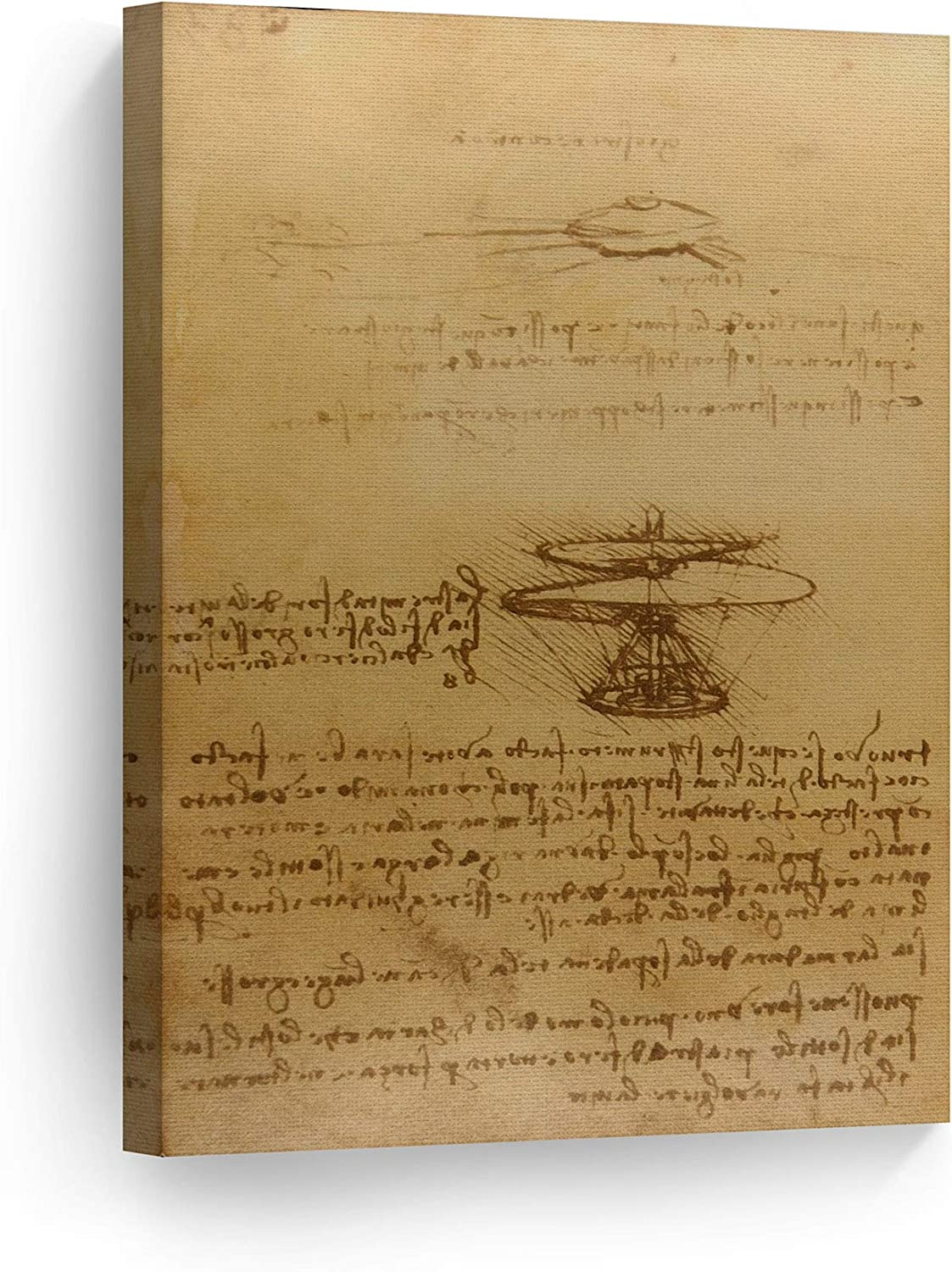 Smile Art Design Helicopter by Leonardo Da Vinci Canvas Wall Art Canvas Print Famous Art Painting Reproduction Fine Art Home Decor Ready to Hang- Made in USA- 12x8