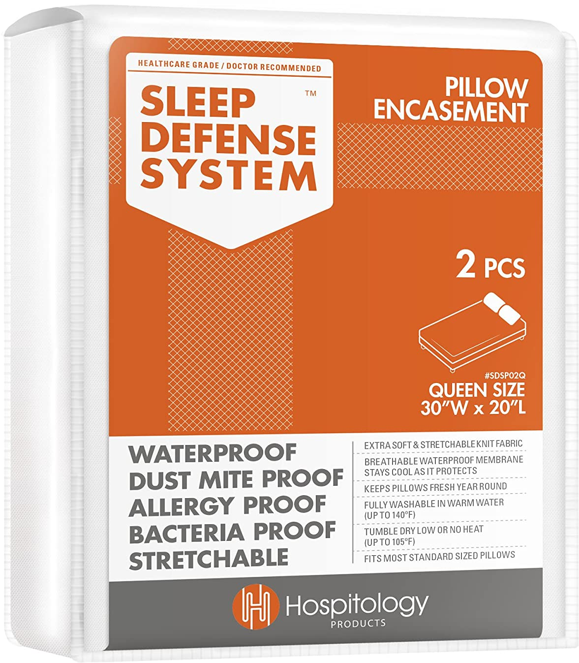 HOSPITOLOGY PRODUCTS Sleep Defense System - Zippered Pillow Encasement - Queen - Hypoallergenic Protector - Waterproof - Bed Bug & Dust Mite Proof - Set of 2-20