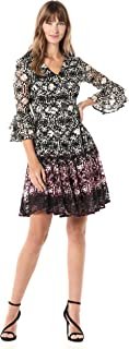 GABBY SKYE Women's 3/4 Bell Sleeve V-Neck Fit and Flare Lace Dress