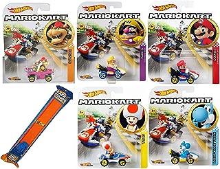 Hot Wheels War Kart Mario Character car Set Toy Wario Mariokart Bundle & Yoshi Blue, Toad Sneeker, Bowser Badwagon and Mario Standard Cart + Orange Race Track 6 Items