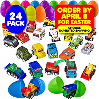 24 Easter Eggs Filled with Toy Cars - Large 2 3/4 Inch Plastic Egg for Easter Basket Stuffers, Kids Birthday Party Favors, Goodie Bags, Pinata Surprise, Mini Gifts - by BisBi Toys