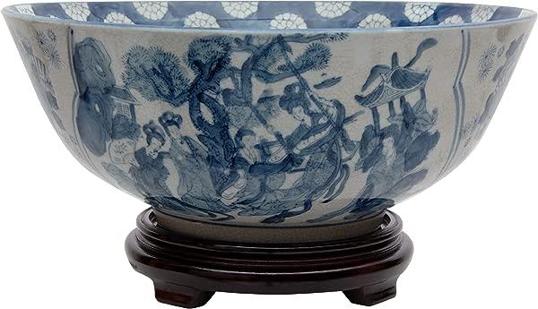 Oriental Furniture 14 Ladies Blue White Porcelain Bowl