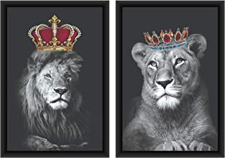 Poylaamo Set of 2, Lion Lioness for Couple Bedroom Framed Wall Painting/Wall Art for Living Room and Dining. Size- 12in X ...