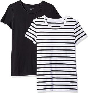 Amazon Essentials Camiseta de Manga Corta con Cuello Redondo para Mujer, 2 Unidades
