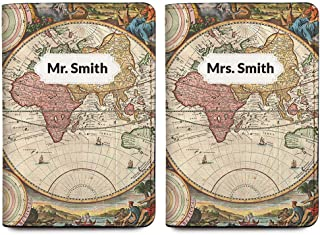 Mr. & Mrs. Personalized RFID Passport Holder Cover - Travel Wallet - Set of 2