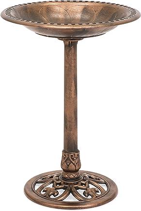 Best Choice Products Outdoor Garden Pedestal Bird Bath Vintage Decor - Copper