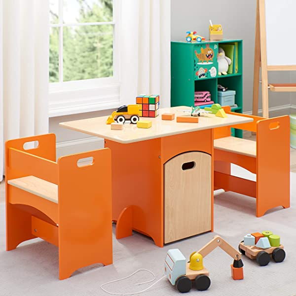 Delight Kids Unique And Awesome Kids Wooden Storage Table And Bench Set 4 Piece All Fit Neatly Beneath The Table Ideal For Classrooms Kids Room Playroom Orange