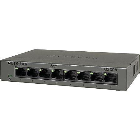 NETGEAR スイッチングハブ ギガビット 8ポート ファンレス 設定不要 省電力設計 GS308-100JPS