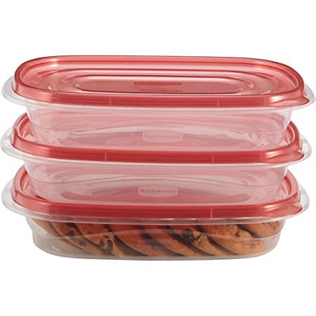 Rubbermaid TakeAlongs Rectangle Food Storage Container, 4 Cup, Tint Chili, 3 Count