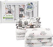 Clevere Kids Mulltücher   9er-Pack   Bedruckt   Oeko-TEX   doppelt gewebt   70x80   Spucktücher (Fuchs & Igel)