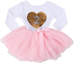 Grace & Lucille Birthday Girl Sequined Dress with Attached Tulle Tutu   Soft & Comfortable Cotton Long Sleeve   Ages 1-6