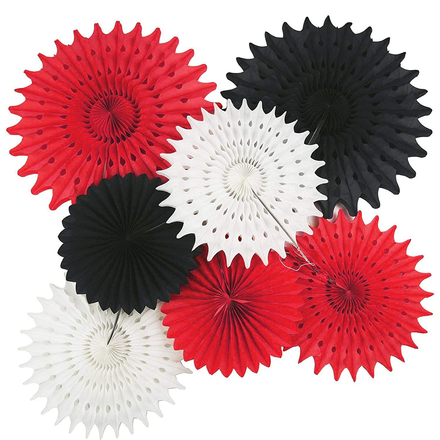 Qian's Party Mickey Mouse Party Supplies Red Black White Party Decorations 7pcs Tissue Paper Fans for Minnie Mouse Birthday Party Decorations Red Black Birthday Party Baby Shower Decortions