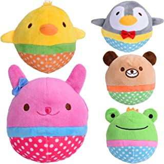 Zerlar Pet Plush Toys Squeaky Doll Cute Ball Chick Frogs Bird Bear Pig for Dogs Puppy Cats Chewing Pack of 5