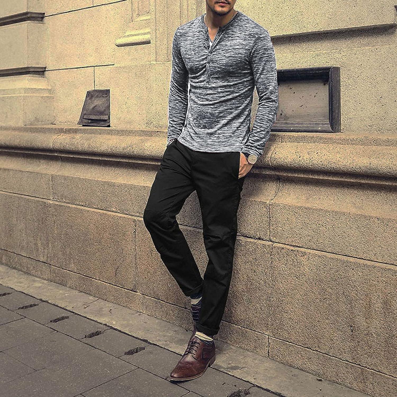 FUNEY Mens Casual Slim Fit Basic Henley Long Sleeve Fashion T-Shirts Buttons Placket Plain Autumn Comfy Cotton Shirts Tops