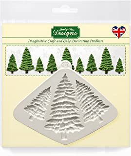 Fir Trees Silhouettes Silicone Mold for Cake Decorating, Cupcakes, Sugarcraft, Candies and Clay, Food Safe, Made in the UK