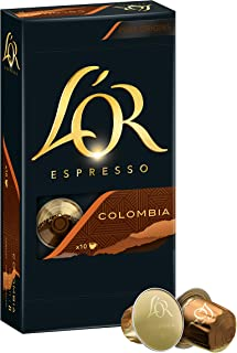 L'OR 胶囊浓缩咖啡 Colombia 哥伦比亚 50 Nespresso (R)* 兼容铝包装咖啡胶囊,5盒(5 x 52克)