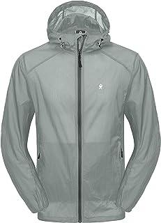 Herren Leichte Kapuzen UPF 50 Sonnenschutzjacke Packbarer Voller Reißverschluss für das Laufen Outdoor