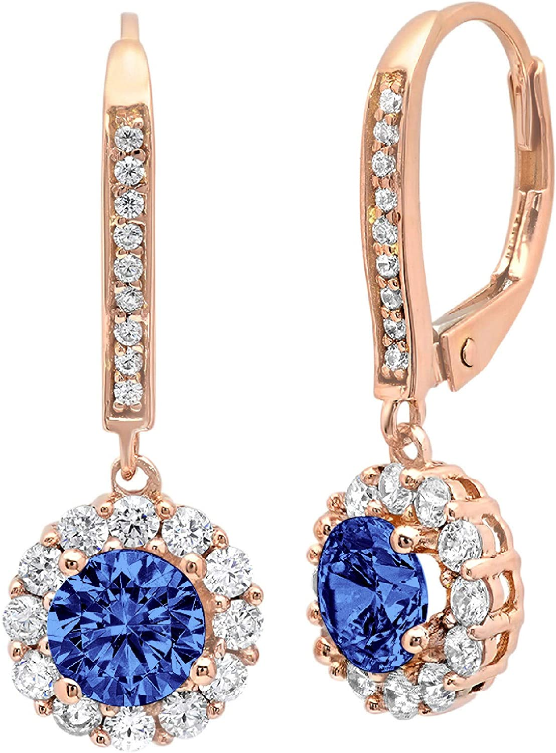 3.45ct Brilliant Round Cut Halo Solitaire Flawless Genuine Simulated CZ Blue Tanzanite Gemstone Unisex Pair of Lever back Drop Dangle Designer Earrings Solid 14k Pink Rose Gold