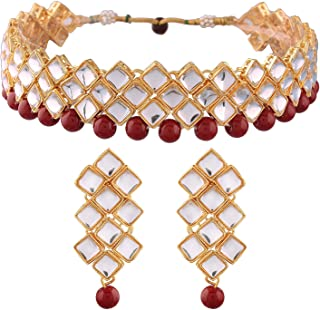 Aheli Traditional Jewelry Wedding Kundan Choker Necklace Earring Set for Women and Girls