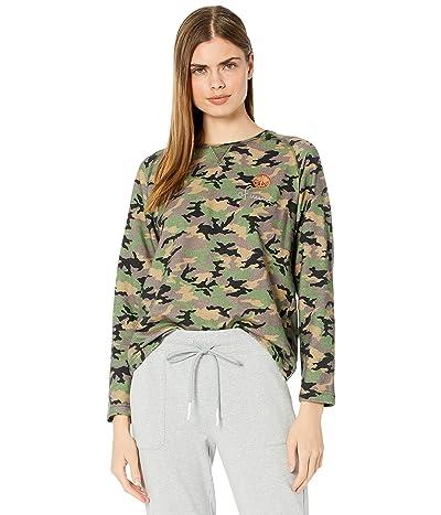 Nicole Miller Camo Crew Neck Sweatshirt (Green Camo) Women