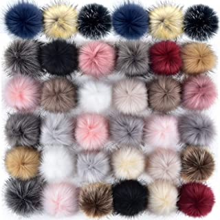 Coopay 36 Pieces Faux Fox Fur Pom Pom Balls DIY Fur Fluffy Pom Pom with Elastic Loop for Hats Keychains Scarves Gloves Bags Charms Knitting Accessories (Popular Mix Colors)