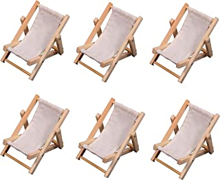 6 Mini Beach Lounge Chairs, Folding Sling Style, Wood with White Fabric - for Wedding Favors, Cake Toppers, Table Markers, Dollhouses, Fairy Gardens, Crafts and More!
