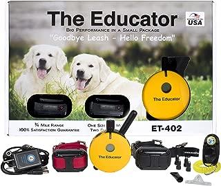Educator Bundle 2 Items - E-Collar - ET-402-3/4 Mile Wireless Rechargeable Remote Waterproof Trainer Static, Vibration Sound Stimulation Collar PetsTEK Dog Training Clicker