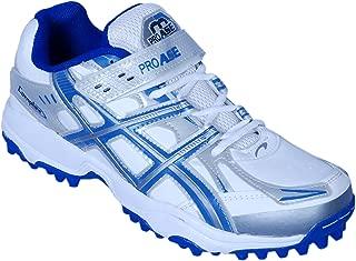 ProAse Unisex Synthetic Leather White Blue Cricket Pro Studs - 10 UK