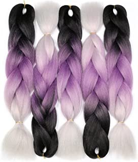 Jumbo Braiding Hair (Black/Purple/Silver Grey) 5pcs Jumbo Braid Hair Extension Ombre Colors For Box Braids Senegal Twist Braids 24 Inch Soft Kanekalon Fiber