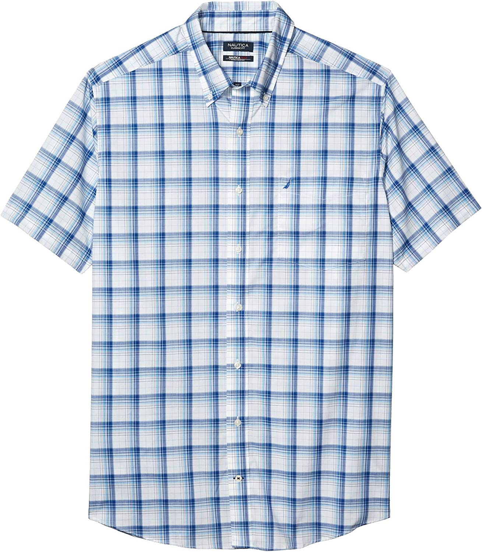 Nautica Men's Big & Tall Short Sleeve Wrinkle-Resistant Plaid Button-Down Shirt
