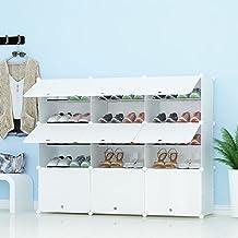 PREMAG Organizador de Almacenamiento de Calzado portátil Tower, Blanco, Estante de gabinete Modular para Ahorrar Espacio, estantes de Zapatero para Zapatos, Botas, Zapatillas 3 * 5