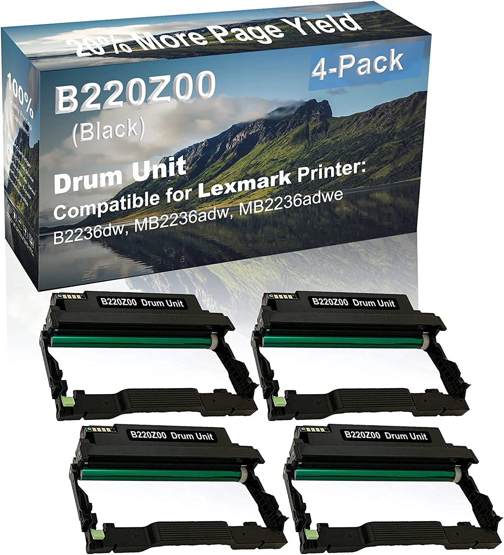 4-Pack (Black) Compatible B2236dw, MB2236adw, MB2236adwe Printer Drum Unit Replacement for Lexmark B220Z00 Drum Kit