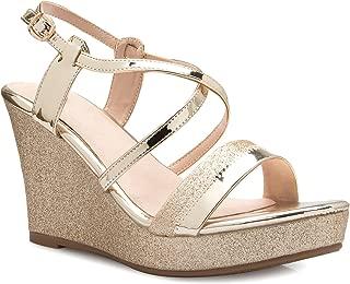 Women's Sexy Strappy Platform Wedge Glitter Sandals