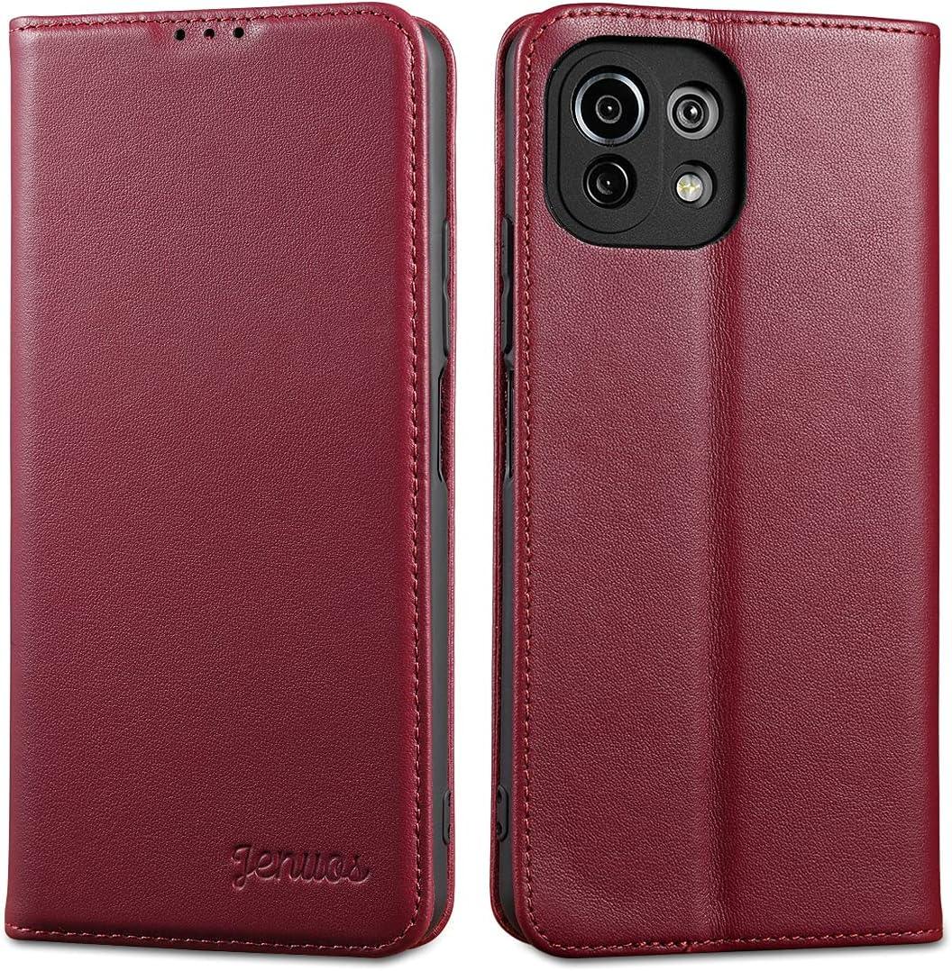 Jenuos Funda Xiaomi Mi 11 Lite 5G / 4G, Carcasa Libro Cuero Genuino [Bloqueo RFID] con Tapa Cierre Magnético y Ranura Tarjeta Piel Cartera para Xiaomi Mi 11 Lite 5G / 4G-Rojo Vino(M11L-PD-WR)