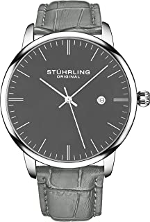 Stuhrling Original Mens Watch Calfskin Leather Strap - Dress + Casual Design - Analog Watch Dial with Date, 3997Z Watches ...
