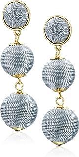 Women's Double Ball Post Drop Earrings, Light Grey, One Size