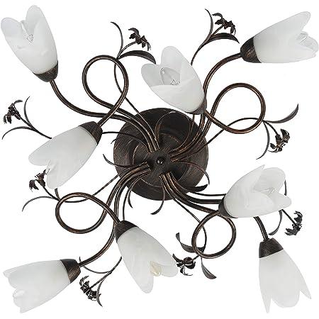 Plafonnier Applique à 8 Lampes de Design Floral en Métal Brun Doré avec Abat-jours Fleurs en Verre Brossé pour Salon ou Chambre à Coucher 8x60W E14