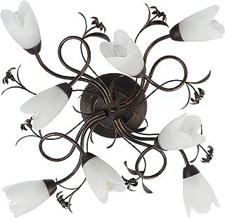 Plafonnier Applique à 8 Lampes de Design Floral en Métal Brun Doré avec Abat-jours Fleurs en Verre Brossé pour Salon ou Ch...