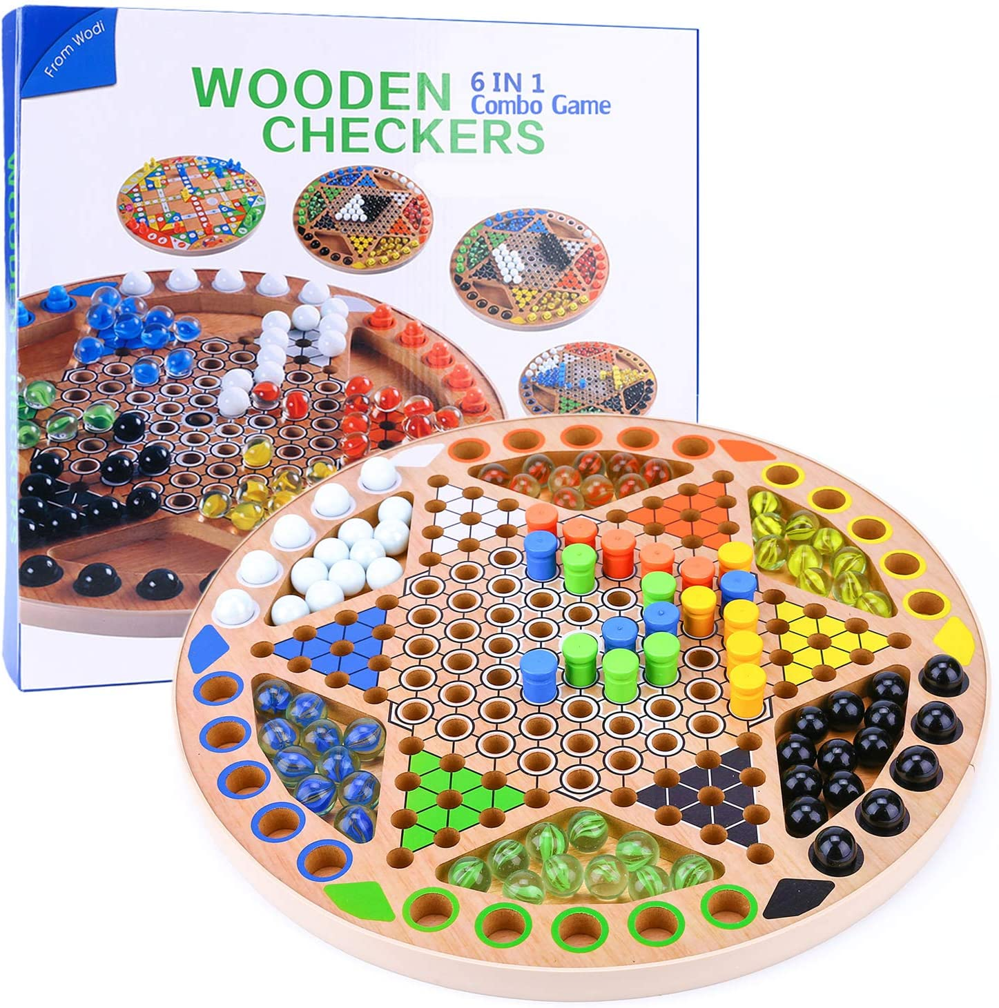Chinese Checkers 6 New products, world's highest quality popular! in 1 Attention brand Combo Game inch 13 G Board Wooden Family
