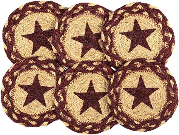 VHC Brands Classic Country Primitive Tabletop Kitchen Burgundy Tan Jute Red Stencil Star Coaster Set Of 6