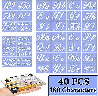 木製ペインティング用文字ステンシル - アルファベットステンシル カリグラフィーフォント 大文字と小文字 - 再利用可能なプラスチックアートクラフトステンシル 数字とサイン付き - 40枚セット - 160デザイン