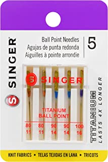SINGER 04809 Titanium Universal Ball Point Machine Needles for Knit Fabric, Assorted Sizes, 5-Count