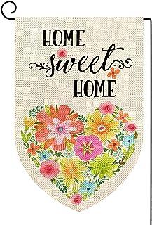 ORTIGIA Home Sweet Home Garden Flag Burlap Vertical Double Sided Spring Floral Love Farmhouse Rustic Heart Decor for Lawn ...