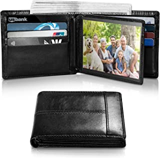 Mens Wallet RFID Genuine Leather Slim Bifold Wallets For Men, ID Window 16 Card Holders Gift Box